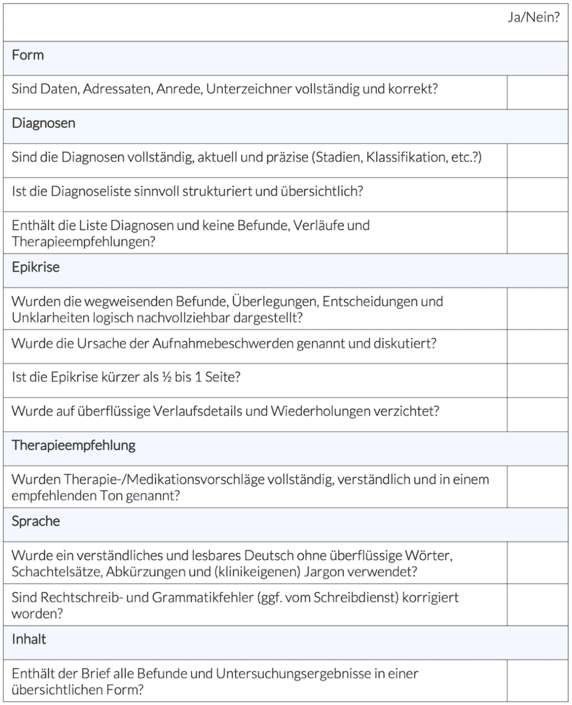 Checkliste Arztbrief