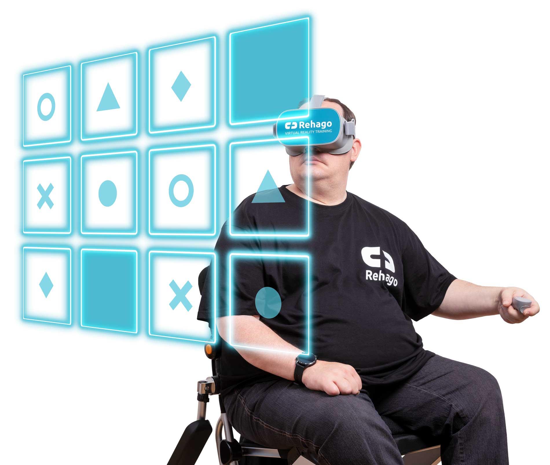 Patient beim Training mit VR-Brille und dem Spiel Memory